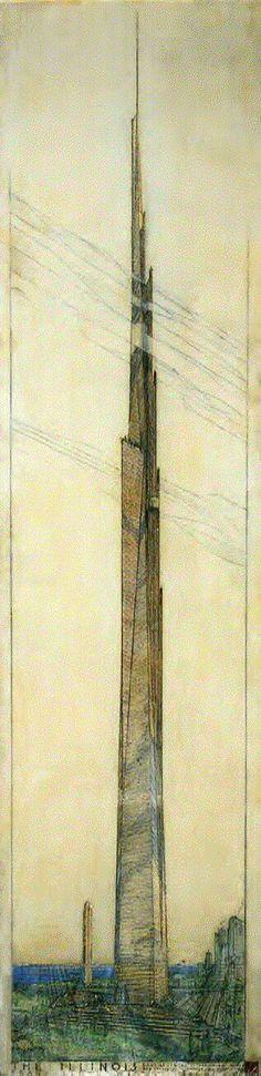 mile high skyscraper - Frank Lloyd Wright - Doesn't it eerily echo the Burj Khalifa in Dubai? #architecture
