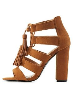 Lace-Up Caged Sandals: Charlotte Russe