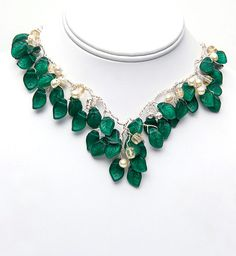 Emerald Green Necklace, Vintage Style Necklace, Bib Necklace, Statement Necklace, Bridal Jewelry. $176.80, via Etsy. elegant and feminine.  simply exquisite.  Wear it to the prom or your wedding.
