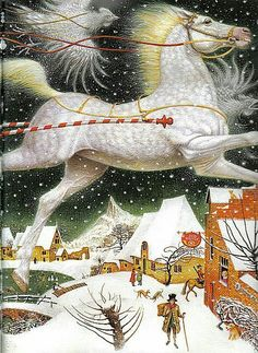 Illustration (detail) by Vladislav Erko (Kiev, from The Snow Queen by Hans Christian Andersen A book set in xmas Hans Christian, Fairy Tale Images, Fairytale Art, Equine Art, Snow Queen, Russian Art, Children's Book Illustration, Book Illustrations, Horse Art
