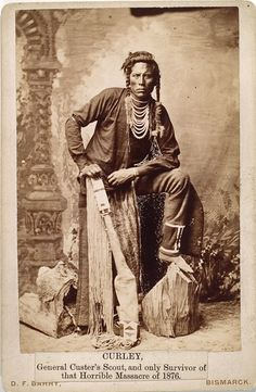 Curly (c1856-1923). Crow Indian (Montana). In several skirmishes with the Sioux in his youth. Indian scout for the U.S. Army in 1876 at about 20. At the Battle of Little Big Horn in June 1876. - Photo by David F. Barry, c1885. - (Original)