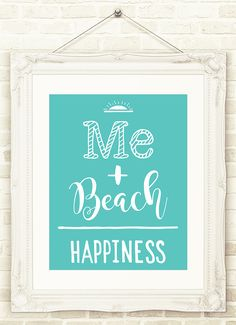 Beach Wall Art Me Plus Beach Equals Happiness INSTANT DOWNLOAD Beach Printable Art  Beach House decor Ocean Print , Beach Poster Beach Sign by CopperAndToad on Etsy