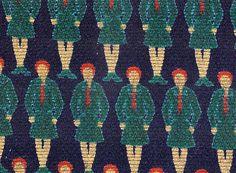 Female Pioneers, 1928-32 Manifactured by Trekhgornaya Manufacturing Ptinted cotton irregular teill  Designer: Oskar Grjun (1874-1931)