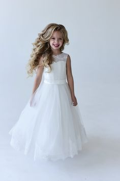 e95eaf37e8e Ivory Flower Girl Dress Ivory Floor Lenght Flower Girl Dress Girl Ball Gown  Dress Tutu Dress Tulle Dress Christmas Dress Ivory Lace Dress