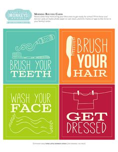 FREE printable Routine Cards...these would be cute in small frames in the bathroom