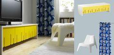 IKEA PS 2012 TV-Bank weiss mit Falttüren gelb