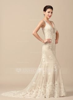 [US$ 293.50] Trumpet/Mermaid V-neck Sweep Train Tulle Wedding Dress With Beading