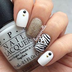 Animal nail art. OPI Polish. Glitter, white nails. Nail design. Instagram photo by lacquerella