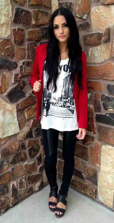 NEW ARRIVALS!!!! Red Blazer ($44) paired with our New York Tee ($28) and Leather Detail Leggings ($26)!!  We LOVE this look!! www.sevenandcoboutique.com