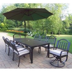 Outdoor Oakland Living Rochester 80 x 40 in. Patio Dining Set with 2 Swivels and Cantilever Umbrella Burnt Orange