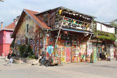 Metelkova City, once a military barracks, now an art squat
