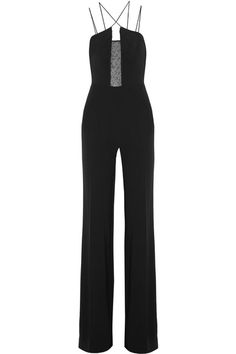 Black stretch-crepe and tulle Zip fastening along back 47% viscose, 45% acetate, 5% polyester, 3% elastane; lining: 97% silk, 3% elastane Dry clean  Made in the UK  Large to size. See Size & Fit notes.