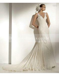 Tule Decote em V Sereia Vestidos de Noiva