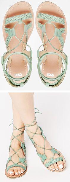Mint gladiator sandals
