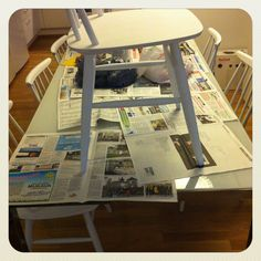 The painting process is on and the new old table is waiting under.