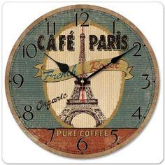 European Eiffel Tower Quartz Wall Clock Retro Vintage Antique Wood Wall Clock Modern Design 12 Inch Oversized Clocks Home Decor Paris Wall Decor, Parisian Decor, Clock Decor, Office Wall Decor, Wall Art Decor, Wall Clock Wooden, Wooden Walls, Retro Cafe, Cool Clocks