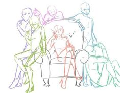 Willis- orange, Hollis- green, Juniper- purple, Clio- pink, Forrest- blue, Ash- teal. No idc if Willis is wearing high heels Art Sketches, Art Drawings, Drawing High Heels, Sitting Pose Reference, Group Bases, Blue Ash, Drawing Techniques, Drawing Tips, Drawing Reference