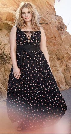 Plus Size Floral Lace Up Maxi Dress