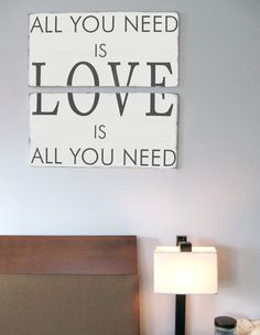 All You Need Is Love Wood Sign Typography Word Art by ToeFishArt