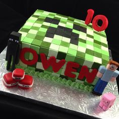 Minecraft cake for Owen, a sweet young man who is leaving the single-digit years behind, and has begun his double-digit years!!