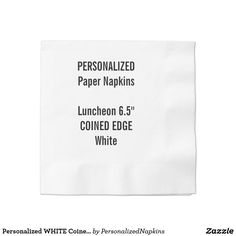 Personalized WHITE Coined Luncheon Paper Napkins