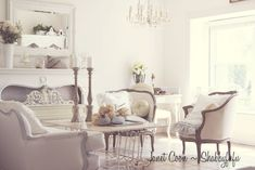beautiful french rooms | Shabbyfufu: White Living Room....French Style