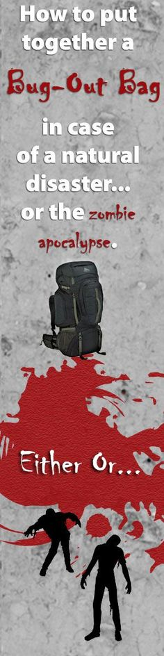 If a natural disaster hit would you be able to hold out for a few days while help was on the way? Here's what to pack in a bug-out bag to keep you going during an emergency - or the ZOMBIE APOCALYPSE http://www.biblemoneymatters.com/bug-out-bag-list-emergency-preparedness/