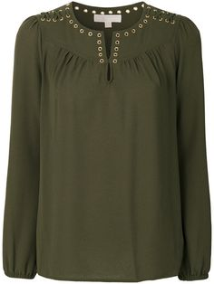 Shop Michael Michael Kors eyelet trim blouse.