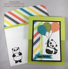 Stampin Up Party Pandas Double Z Fun Fold birthday card idea with Glimmer Paper and Bubbles & Fizz DSP - Jeanie Stark StampinUp Fun Fold Cards, Folded Cards, Simple Birthday Cards, Paper Pumpkin, Kids Cards, Christmas Projects, Stampin Up Cards, Making Ideas, Card Making