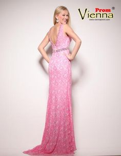 Vienna Prom dresses available at Hope's Bridal- pink lace prom dress with sparkle belt at waist