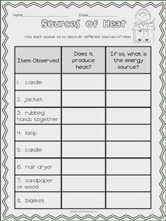 educationjourney: Fraction Fun & The Heat is On 2nd Grade Worksheets, Science Worksheets, Science Lessons, Science Activities, Science Ideas, Science Projects, Science Experiments, Adjectives Activities, Free Worksheets