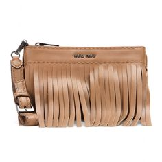 Miu Miu - Leather fringe clutch - Take on the fringe trend with Miu Miu's leather clutch. Adorned with fringing to the front, this sleek design can be carried as a clutch or swung from the wrist. A rich hue and discrete branding makes it a style staple that really will go with everything. seen @ www.mytheresa.com