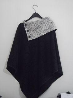 Poncho en laine et liberty mitsi gris clair : Manteau, Blouson, veste par lescreadedine