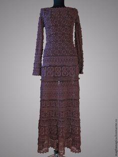 """Купить По мотивам """"Карениной"""" - коричневый, однотонный, платье, платье вязаное, платье вечернее"""