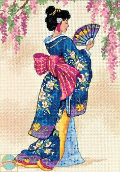 Gold Collection Petites - Elegant Geisha, You can produce really specific patterns for textiles with cross stitch. Cross stitch versions can very nearly impress you. Cross stitch beginners may make the versions they want without difficulty. Counted Cross Stitch Kits, Cross Stitch Embroidery, Embroidery Patterns, Hand Embroidery, Cross Stitch Designs, Cross Stitch Patterns, Cross Stitches, Afrique Art, Art Asiatique