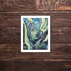 Art Print 'The Siren's Silence' fantasy art illustration mermaid decor under the sea by tifengland