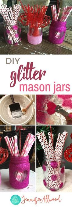 You could make these in any color for any holiday! Great Gift idea too! DIY Glitter Mason Jar  | Valentine's Crafts | Valentine Mason Jar | Magic Brush | Holiday Craft Ideas | Glittered Mason Jars #valentinesday #DIY #masonjar