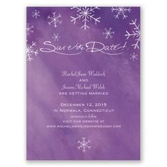 Romantic Snowfall Save the Date Card - Grapevine