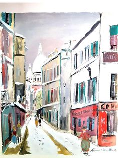 For Sale on - Sacré Coeur - Village of Montmartre - Pochoir, Stencil by (after) Maurice Utrillo. Offered by Galerie Philia Fine Art. Maurice Utrillo, French Government, Le Village, Art Folder, Landscape Prints, French Artists, Sculpture, Book Art, Museum