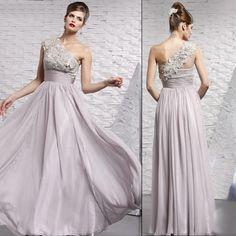 Designer Gray Grey Chiffon Lace One Shoulder Evening Ball Gown Dresses SKU-122045