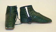Shoes   Date: 1840–59   Culture: American   Medium: leather, silk, linen