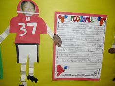 Make your own scrapbook design Today we wrote about our favorite football teams. We have a little rivalry in the 2 colleges nearby wh. Sports Theme Classroom, Classroom Ideas, Football Themes, Football Team, After School, School Fun, Projects For Kids, Art Projects, Team Theme