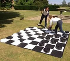 Giant Chess / Checkers - Mat Only, Giant Games, Fun for everyone! A great way for beginners to learn the games. Perfect for an outdoor or gym setting. Heavy-duty vinyl with grommets and includes pegs for the grass. SIZE: 10 x 10 . Garden Games, Backyard Games, Fun Games, Games For Kids, Prom Games, Youth Games, Wedding Games, Giant Lawn Games, Giant Outdoor Games
