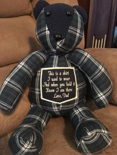 Memory Bear, Keepsake Bear Bereavement bear, with embroidery. Made from clothes of your choice. Teddy Bear Keepsake bear Memory bear Bereavement bear with embroidery. Old Shirts, Dad To Be Shirts, Memory Pillows, Memory Pillow From Shirt, Memory Quilts, Baby Quilts, Memory Crafts, In Memory Gifts, Keepsake Crafts