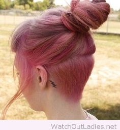 Perfect undercut on pink hair color