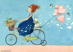 """""""Faça a diferença. Seja um pequeno gesto, numa pequena gentileza. Numa simples palavra de conforto ou de carinho. Faça alguém sorrir. Faça o bem. Não importa como, nem onde. Pratique a arte de espalhar o amor."""" Bicycle Painting, Bicycle Art, Happy Week, Art Lesson Plans, Fantasy Girl, Happy Birthday Cards, Figurative Art, Cute Cartoon, Art Lessons"""