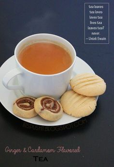 Ginger and Cardamom Flavored Tea with cookies