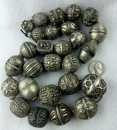 27 RARE Antique SILVER Ethnic Tribal BEADS - Superb Collection of 20 Years