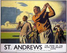 St Andrews Home of Golf vintage poster Claudio Bravo, St Andrews Golf, Pin Up, Golf Art, Best Golf Clubs, National Railway Museum, Vintage Golf, Vintage Art, Vintage Safari