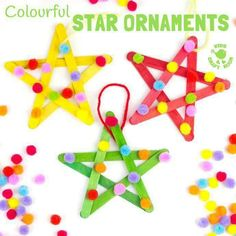 A Crafty Arab: 99 Creative Star Projects. These colourful pom pom popsicle stick stars will look amazing hanging on your Christmas tree or as a bright and cheery bedroom or nursery display all year round. Christmas Ornaments To Make, Christmas Crafts For Kids, Homemade Christmas, Holiday Crafts, Christmas Diy, Homemade Ornaments, Popsicle Stick Crafts, Craft Stick Crafts, Nativity Star
